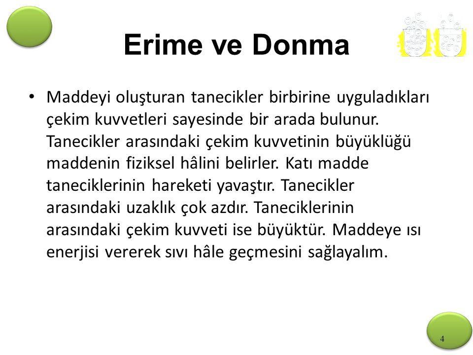 4 Erime ve Donma Maddeyi oluşturan tanecikler birbirine uyguladıkları çekim kuvvetleri sayesinde bir arada bulunur.