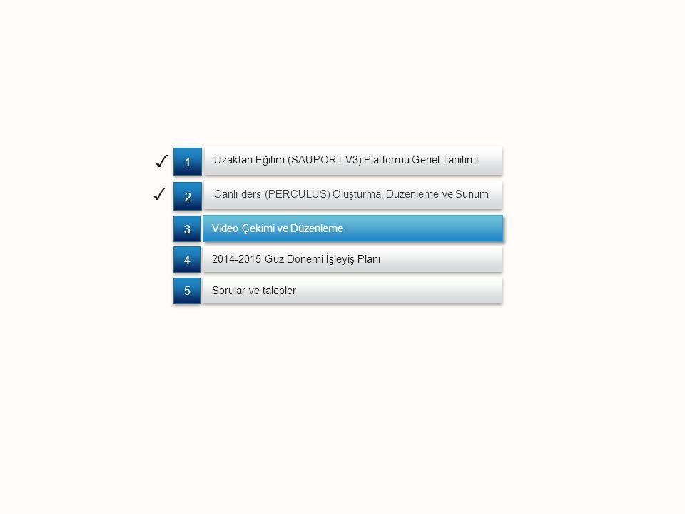 ✓ Uzaktan Eğitim (SAUPORT V3) Platformu Genel Tanıtımı Canlı ders (PERCULUS) Oluşturma, Düzenleme ve Sunum 2 2 1 1 ✓ Video Çekimi ve Düzenleme 3 3 2014-2015 Güz Dönemi İşleyiş Planı 4 4 Sorular ve talepler 5 5