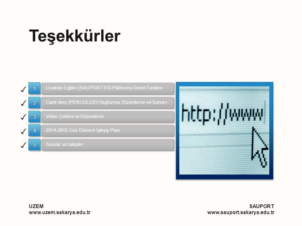 Teşekkürler UZEM www.uzem.sakarya.edu.tr SAUPORT www.sauport.sakarya.edu.tr Uzaktan Eğitim (SAUPORT V3) Platformu Genel Tanıtımı Video Çekimi ve Düzenleme Canlı ders (PERCULUS) Oluşturma, Düzenleme ve Sunum ✓ ✓ ✓ 11 22 33 2014-2015 Güz Dönemi İşleyiş Planı Sorular ve talepler ✓ ✓ 44 55