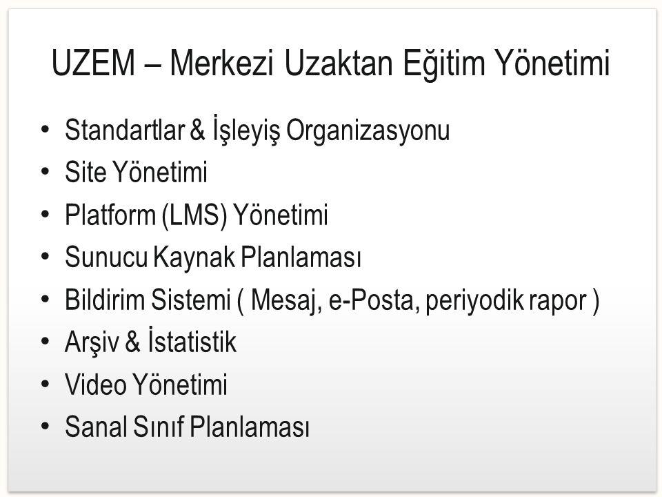 UZEM – Merkezi Uzaktan Eğitim Yönetimi Standartlar & İşleyiş Organizasyonu Site Yönetimi Platform (LMS) Yönetimi Sunucu Kaynak Planlaması Bildirim Sistemi ( Mesaj, e-Posta, periyodik rapor ) Arşiv & İstatistik Video Yönetimi Sanal Sınıf Planlaması