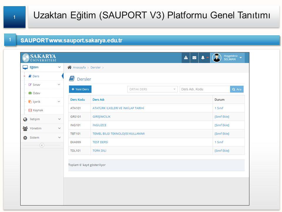 Uzaktan Eğitim (SAUPORT V3) Platformu Genel Tanıtımı 1 1 SAUPORT www.sauport.sakarya.edu.tr 1