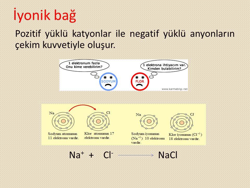 İyonik bağ Pozitif yüklü katyonlar ile negatif yüklü anyonların çekim kuvvetiyle oluşur. Na + + Cl - NaCl