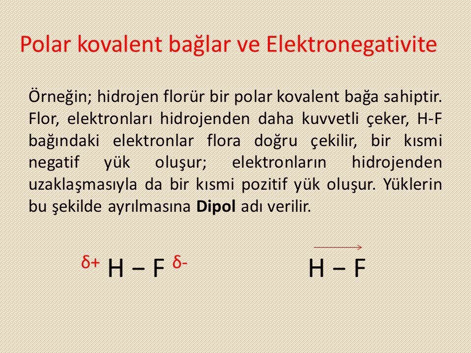 Polar kovalent bağlar ve Elektronegativite Örneğin; hidrojen florür bir polar kovalent bağa sahiptir. Flor, elektronları hidrojenden daha kuvvetli çek