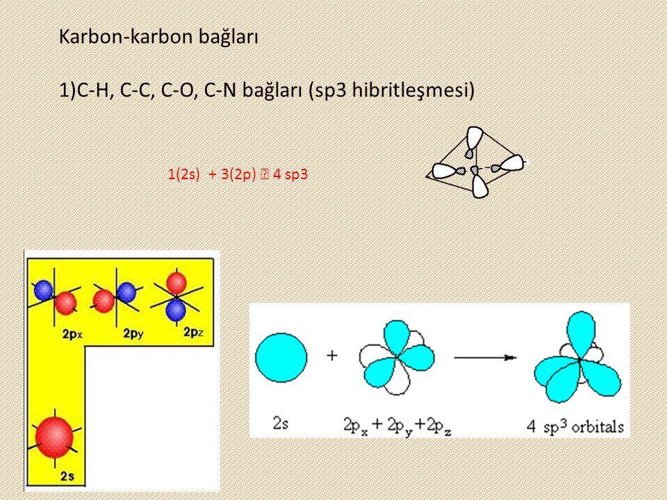 1(2s) + 3(2p)  4 sp3 Karbon-karbon bağları 1)C-H, C-C, C-O, C-N bağları (sp3 hibritleşmesi)
