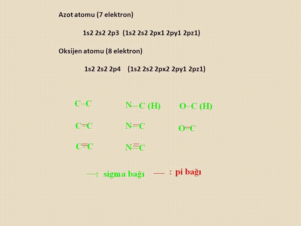 Azot atomu (7 elektron) 1s2 2s2 2p3 (1s2 2s2 2px1 2py1 2pz1) Oksijen atomu (8 elektron) 1s2 2s2 2p4 (1s2 2s2 2px2 2py1 2pz1)