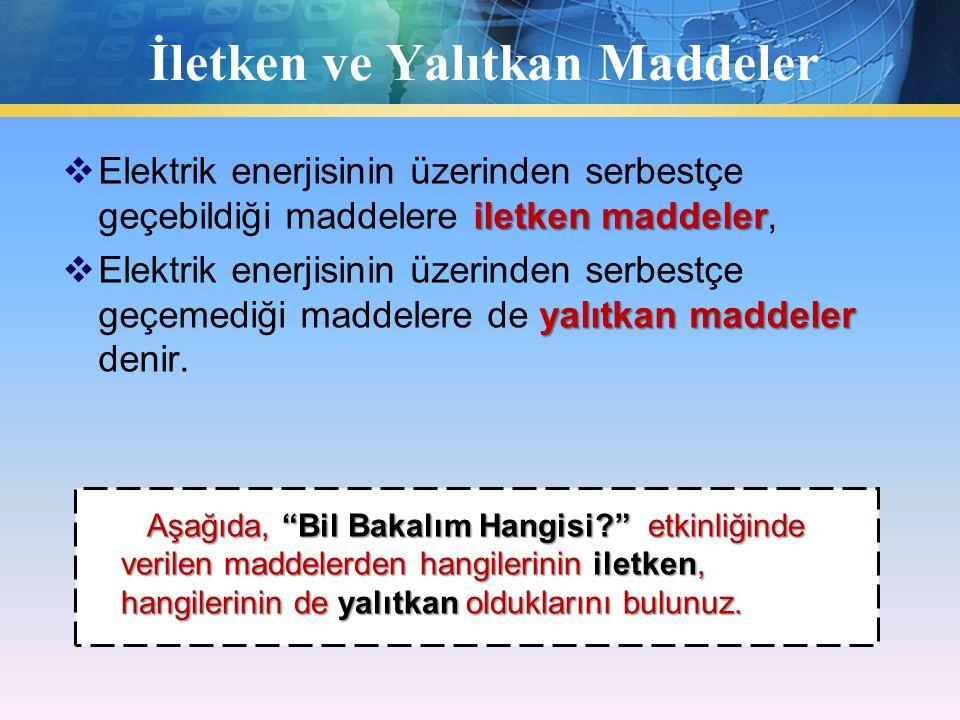 İletken ve Yalıtkan Maddeler iletken maddeler  Elektrik enerjisinin üzerinden serbestçe geçebildiği maddelere iletken maddeler, yalıtkan maddeler  Elektrik enerjisinin üzerinden serbestçe geçemediği maddelere de yalıtkan maddeler denir.