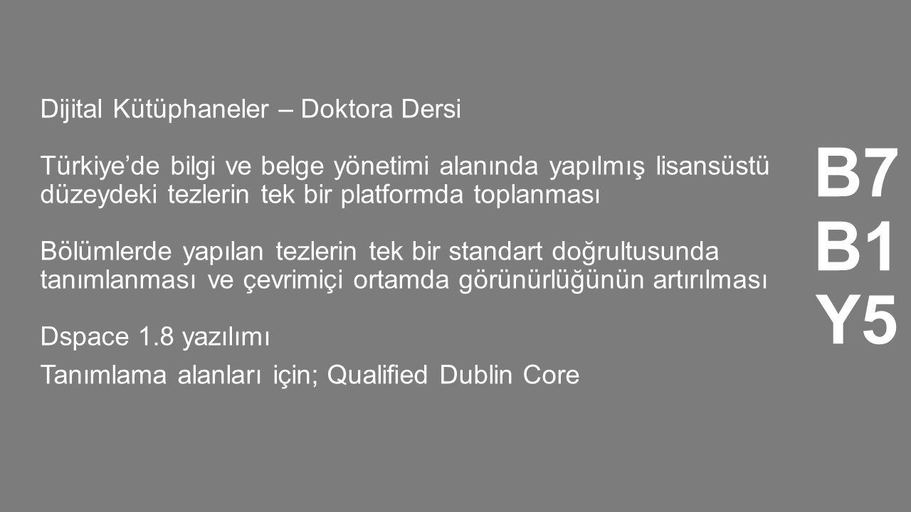B7 B1 Y5 Dijital Kütüphaneler – Doktora Dersi Türkiye'de bilgi ve belge yönetimi alanında yapılmış lisansüstü düzeydeki tezlerin tek bir platformda to