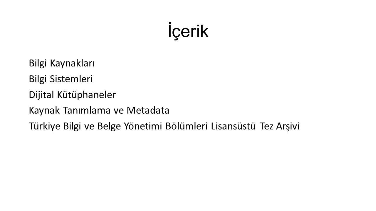 İçerik Bilgi Kaynakları Bilgi Sistemleri Dijital Kütüphaneler Kaynak Tanımlama ve Metadata Türkiye Bilgi ve Belge Yönetimi Bölümleri Lisansüstü Tez Ar