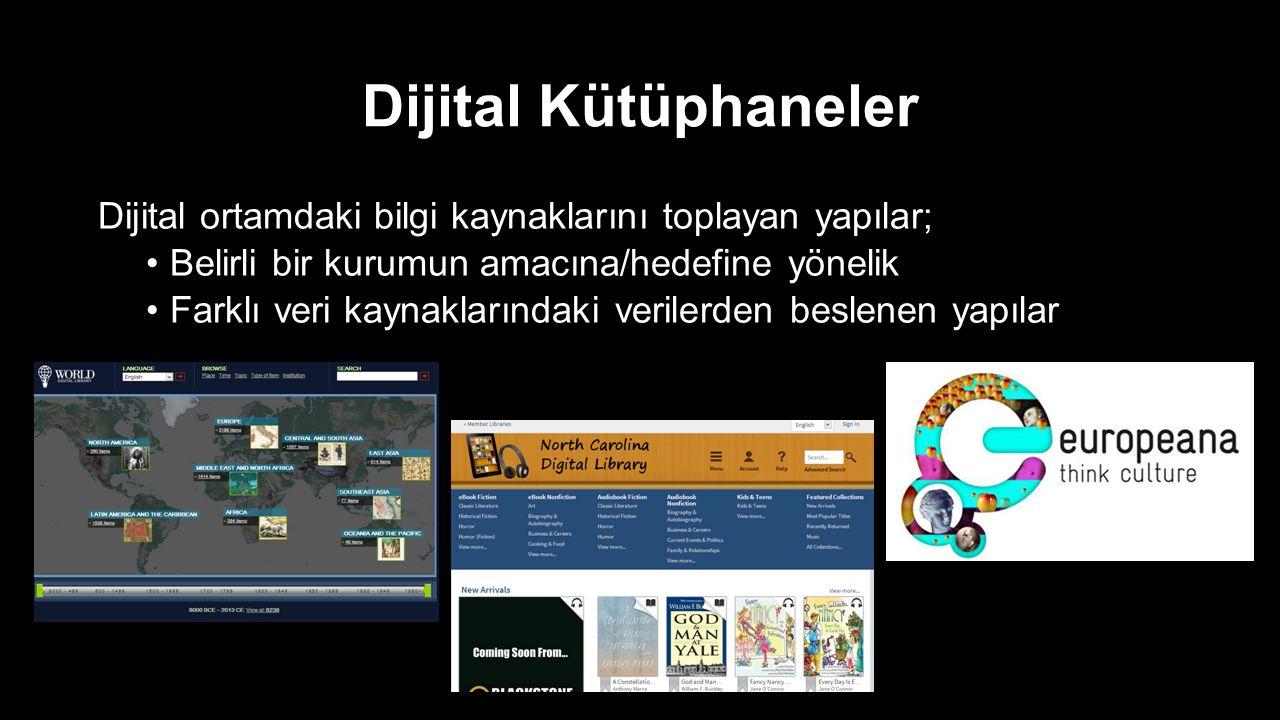 Dijital Kütüphaneler Dijital ortamdaki bilgi kaynaklarını toplayan yapılar; Belirli bir kurumun amacına/hedefine yönelik Farklı veri kaynaklarındaki v