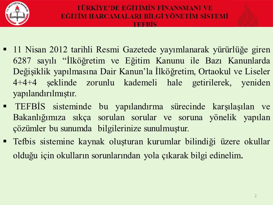 Strateji Geliştirme Başkanlığı Türkiye'de Eğitimin Finansmanı ve Eğitim Harcamaları Bilgi Yönetim Sistemi Projesi (TEFBİS) Eğitim Semineri SORUNLAR VE