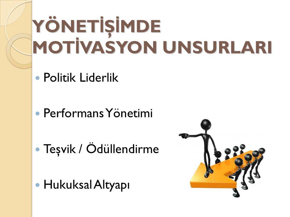 YÖNET İ Ş İ MDE MOT İ VASYON UNSURLARI Politik Liderlik Performans Yönetimi Teşvik / Ödüllendirme Hukuksal Altyapı