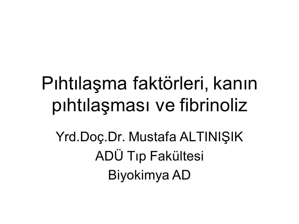 Pıhtılaşma faktörleri, kanın pıhtılaşması ve fibrinoliz Yrd.Doç.Dr. Mustafa ALTINIŞIK ADÜ Tıp Fakültesi Biyokimya AD