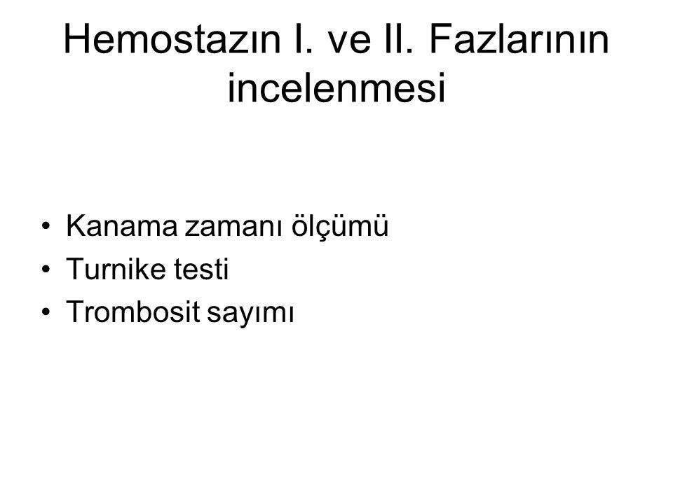 Hemostazın I. ve II. Fazlarının incelenmesi Kanama zamanı ölçümü Turnike testi Trombosit sayımı