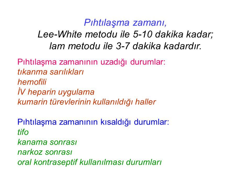 Pıhtılaşma zamanı, Lee-White metodu ile 5-10 dakika kadar; lam metodu ile 3-7 dakika kadardır. Pıhtılaşma zamanının uzadığı durumlar: tıkanma sarılıkl