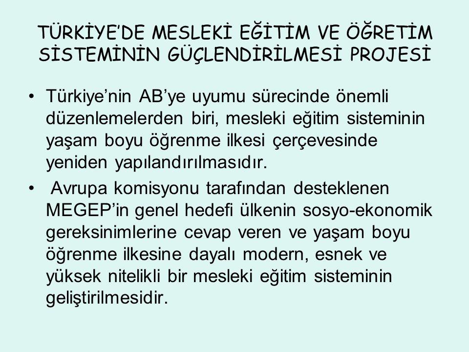 TÜRKİYE'DE MESLEKİ EĞİTİM VE ÖĞRETİM SİSTEMİNİN GÜÇLENDİRİLMESİ PROJESİ Türkiye'nin AB'ye uyumu sürecinde önemli düzenlemelerden biri, mesleki eğitim