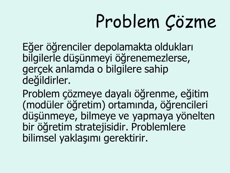 Problem Çözme Aşamaları 1.Problem durumu bulma 2.Öğrencilerin hazırlanması 3.Problemle karşılaşma 4.Ne bilindiğinin ve daha nelerin bilinmesi gerektiğinin saptanması 5.Problemin tanımlanması 6.Bilgilerin toplanması ve paylaşılması 7.Olası çözümlerin üretilmesi 8.En uygun çözümün kararlaştırılması 9.Çözümü sunma 10.Problem çözme sürecinin raporlaştırılması