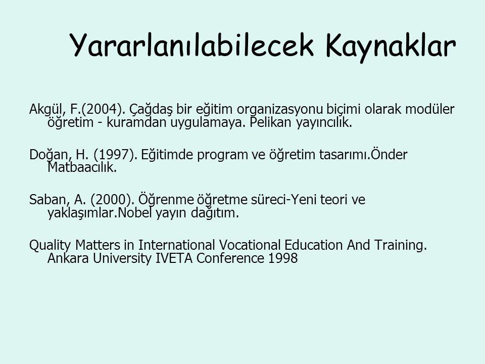 Yararlanılabilecek Kaynaklar Akgül, F.(2004). Çağdaş bir eğitim organizasyonu biçimi olarak modüler öğretim - kuramdan uygulamaya. Pelikan yayıncılık.