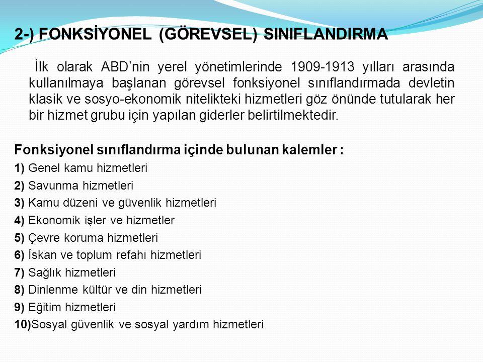 2-) FONKSİYONEL (GÖREVSEL) SINIFLANDIRMA İlk olarak ABD'nin yerel yönetimlerinde 1909-1913 yılları arasında kullanılmaya başlanan görevsel fonksiyonel