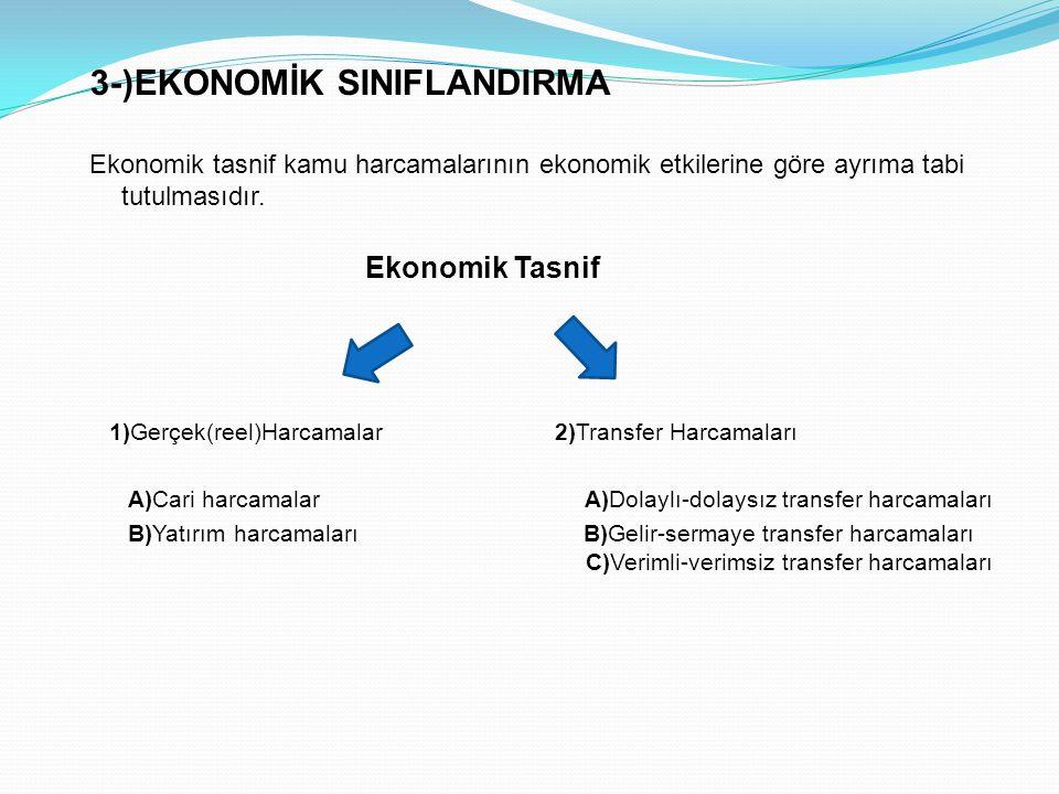 3-)EKONOMİK SINIFLANDIRMA Ekonomik tasnif kamu harcamalarının ekonomik etkilerine göre ayrıma tabi tutulmasıdır. Ekonomik Tasnif 1)Gerçek(reel)Harcama