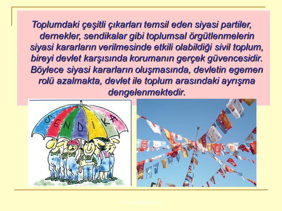 www.ismailbilgin.com Toplumdaki çeşitli çıkarları temsil eden siyasi partiler, dernekler, sendikalar gibi toplumsal örgütlenmelerin siyasi kararların