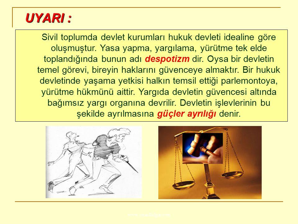 www.ismailbilgin.com UYARI : UYARI : Sivil toplumda devlet kurumları hukuk devleti idealine göre oluşmuştur. Yasa yapma, yargılama, yürütme tek elde t