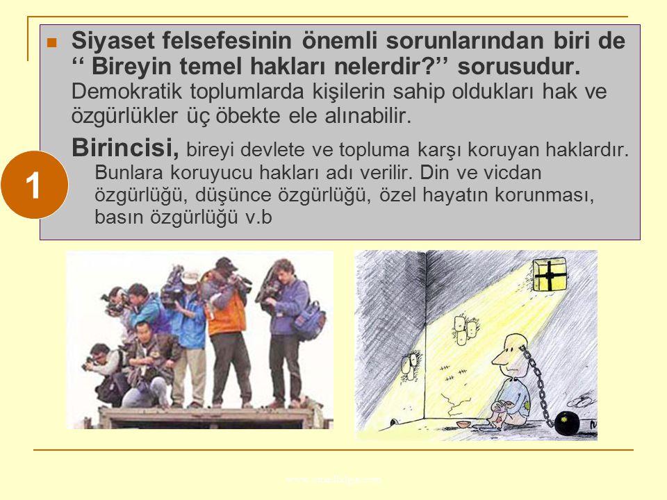 www.ismailbilgin.com Siyaset felsefesinin önemli sorunlarından biri de '' Bireyin temel hakları nelerdir?'' sorusudur. Demokratik toplumlarda kişileri
