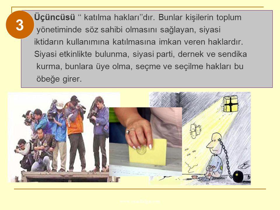 www.ismailbilgin.com Üçüncüsü '' katılma hakları''dır. Bunlar kişilerin toplum yönetiminde söz sahibi olmasını sağlayan, siyasi iktidarın kullanımına