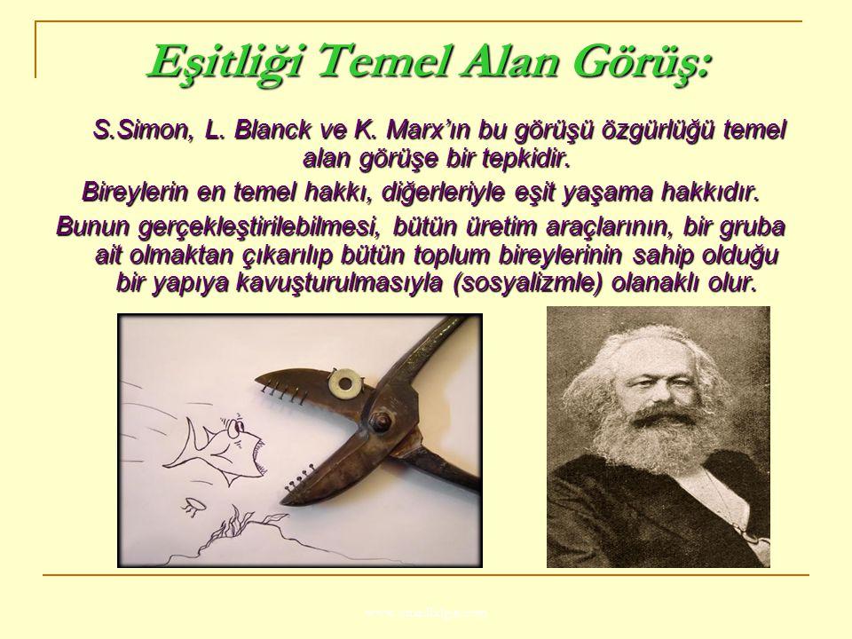 www.ismailbilgin.com Eşitliği Temel Alan Görüş: S.Simon, L. Blanck ve K. Marx'ın bu görüşü özgürlüğü temel alan görüşe bir tepkidir. S.Simon, L. Blanc