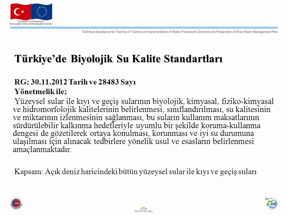 Türkiye'de Biyolojik Su Kalite Standartları RG: 30.11.2012 Tarih ve 28483 Sayı Yönetmelik ile; Yüzeysel sular ile kıyı ve geçiş sularının biyolojik, k