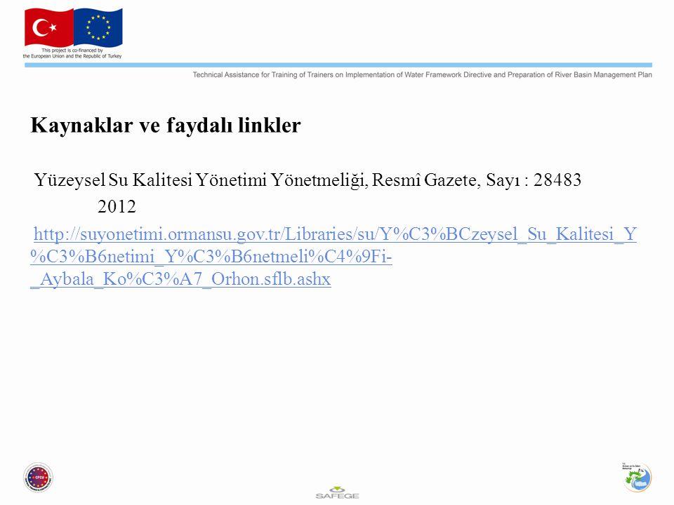 Kaynaklar ve faydalı linkler Yüzeysel Su Kalitesi Yönetimi Yönetmeliği, Resmî Gazete, Sayı : 28483 2012 http://suyonetimi.ormansu.gov.tr/Libraries/su/