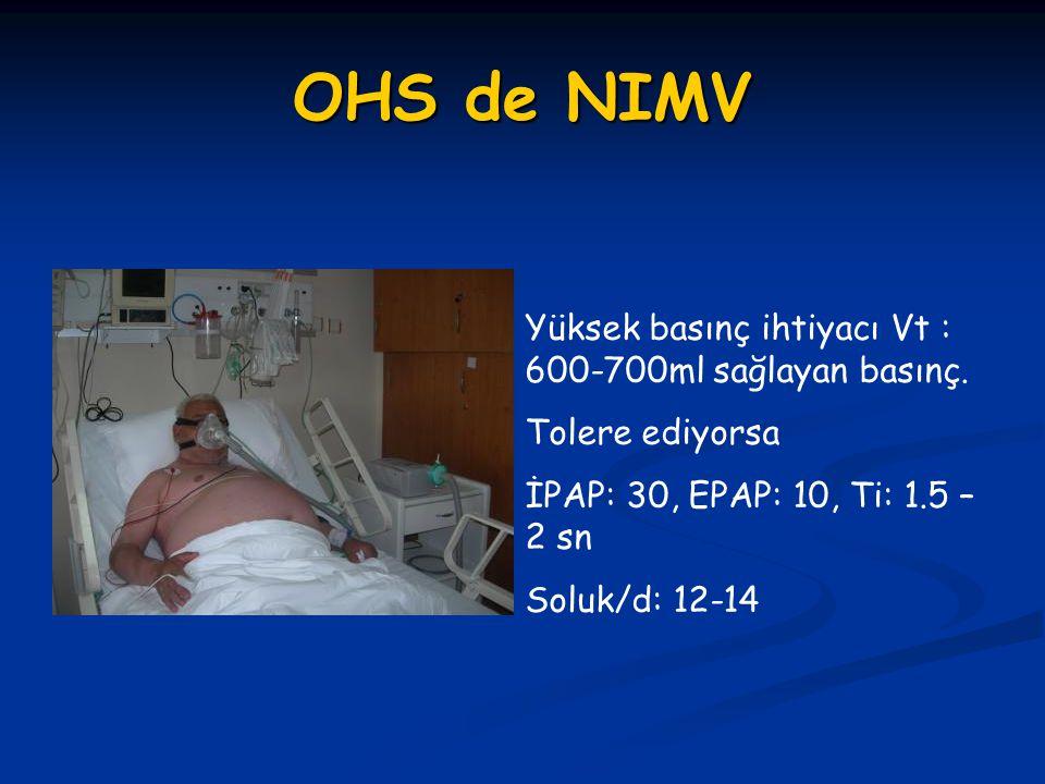 Restriktif Akciğer Hastalıklarında Evde MV Endikasyonları Majör Hastalıklar Göğüs Duvarı Hastalıkları Göğüs Duvarı Hastalıkları Kifoskolyoz Kifoskolyoz ALS, myopatiler ALS, myopatiler Nöromusküler hastalıklar (DMD) Nöromusküler hastalıklar (DMD) Polio sekeli Polio sekeli Endikasyonlar Semptomlar: yorgun, sabah başağrısı, dispne Bulgu: 1)Gündüz PaCO2>45 mm Hg 2) gece desatürasyonu varsa (5 d sürekli saturasyonu %88'in altında Puls- oksimetre ile gözlenmesi) 3) Nöromusküler Hastalıklarda FVC <%50 veya MİP > - 60cmH2O Patrick Leger.