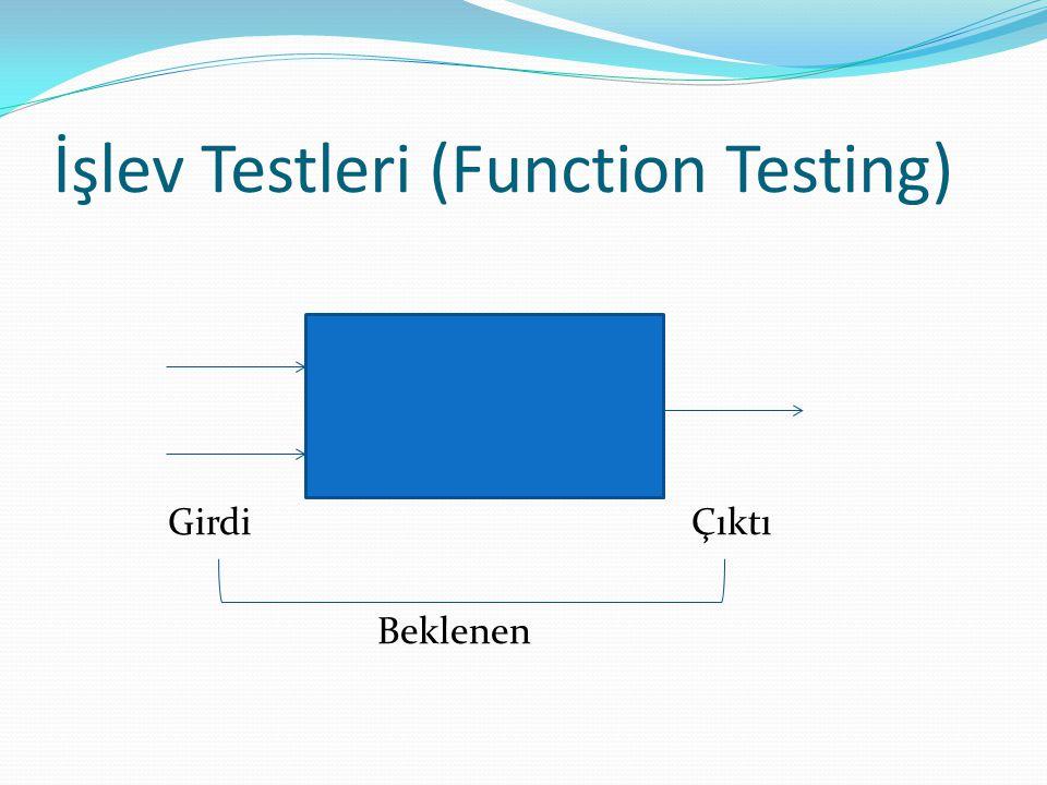 İşlev Testleri (Function Testing) GirdiÇıktı Beklenen
