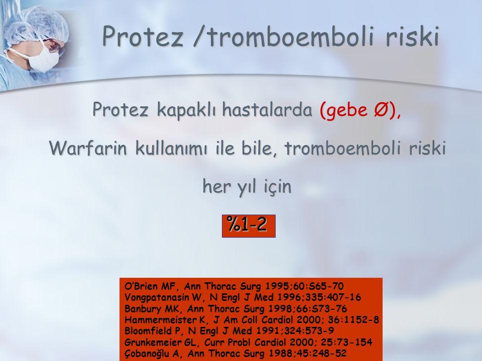 Protez /tromboemboli riski Protez kapaklı hastalarda (gebe Ø), Warfarin kullanımı ile bile, tromboemboli riski her yıl için %1-2 O'Brien MF, Ann Thorac Surg 1995;60:S65-70 Vongpatanasin W, N Engl J Med 1996;335:407-16 Banbury MK, Ann Thorac Surg 1998;66:S73-76 Hammermeister K, J Am Coll Cardiol 2000; 36:1152-8 Bloomfield P, N Engl J Med 1991;324:573-9 Grunkemeier GL, Curr Probl Cardiol 2000; 25:73-154 Çobanoğlu A, Ann Thorac Surg 1988;45:248-52