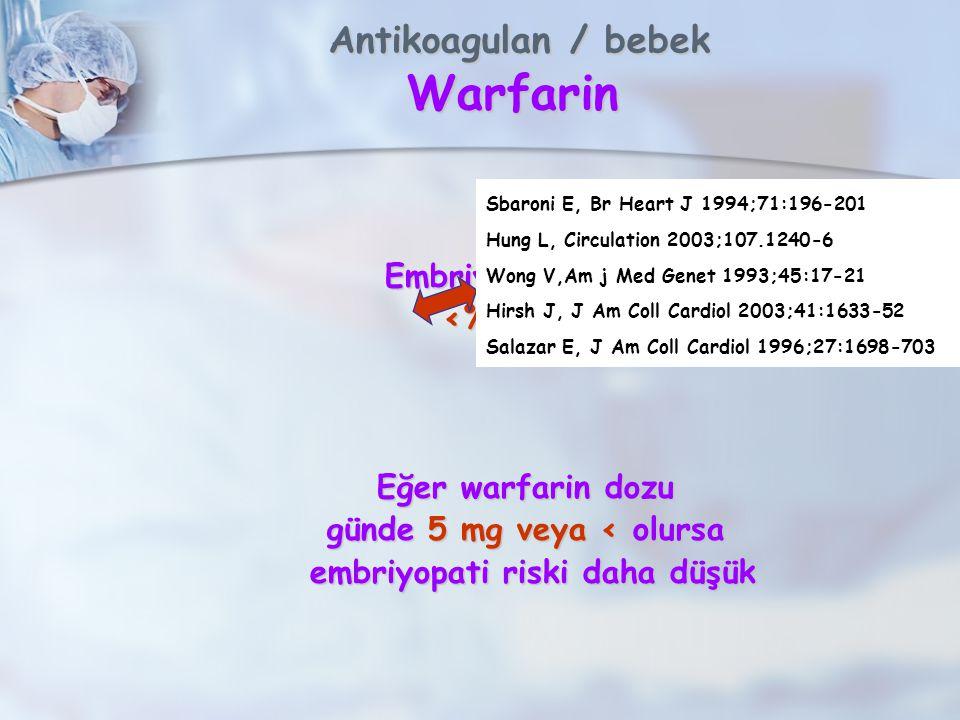 Antikoagulan / bebek Warfarin Antikoagulan / bebek Warfarin Embriyopati sıklığı <%5- %67 Eğer warfarin dozu günde 5 mg veya < olursa embriyopati riski daha düşük embriyopati riski daha düşük Sbaroni E, Br Heart J 1994;71:196-201 Hung L, Circulation 2003;107.1240-6 Wong V,Am j Med Genet 1993;45:17-21 Hirsh J, J Am Coll Cardiol 2003;41:1633-52 Salazar E, J Am Coll Cardiol 1996;27:1698-703