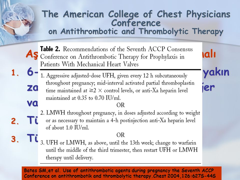 The American College of Chest Physicians Conference on Antithrombotic and Thrombolytic Therapy Aşağıdaki 3 rejimden biri kullanılmalı 1. 6-12 haftalar