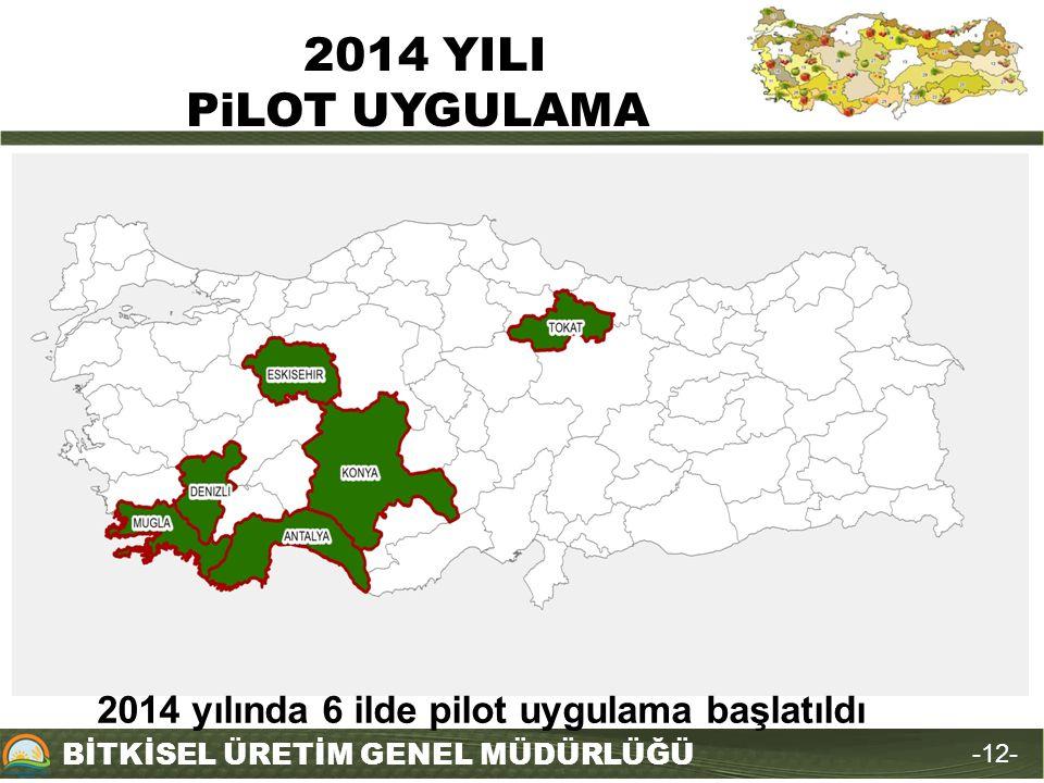 BİTKİSEL ÜRETİM GENEL MÜDÜRLÜĞÜ 2014 YILI PiLOT UYGULAMA -12- 2014 yılında 6 ilde pilot uygulama başlatıldı