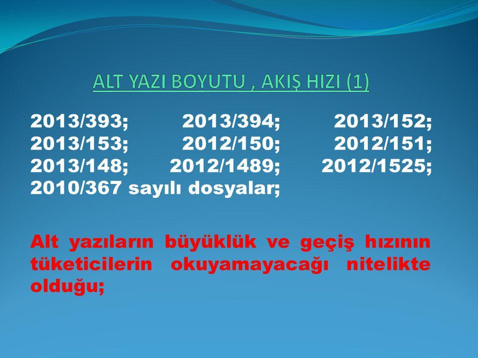 2013/393; 2013/394; 2013/152; 2013/153; 2012/150; 2012/151; 2013/148; 2012/1489; 2012/1525; 2010/367 sayılı dosyalar; Alt yazıların büyüklük ve geçiş