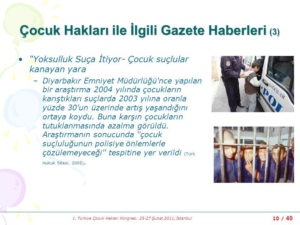 """1. Türkiye Çocuk Hakları Kongresi, 25-27 Şubat 2011, İstanbul 10 / 40 Çocuk Hakları ile İlgili Gazete Haberleri (3) """"Yoksulluk Suça İtiyor- Çocuk suçl"""