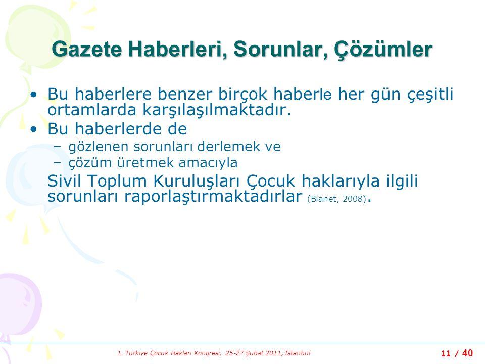 1. Türkiye Çocuk Hakları Kongresi, 25-27 Şubat 2011, İstanbul 11 / 40 Gazete Haberleri, Sorunlar, Çözümler Bu haberlere benzer birçok haber le her gün