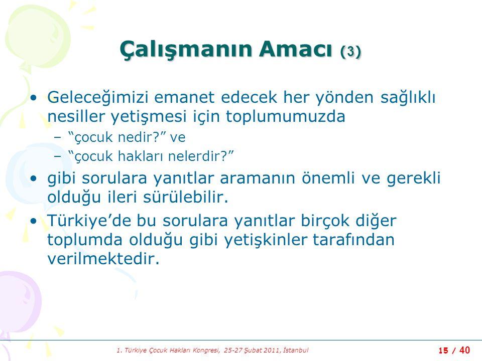 1. Türkiye Çocuk Hakları Kongresi, 25-27 Şubat 2011, İstanbul 15 / 40 Çalışmanın Amacı ( 3 ) Geleceğimizi emanet edecek her yönden sağlıklı nesiller y