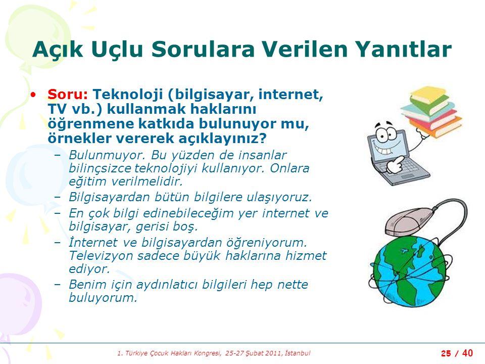 1. Türkiye Çocuk Hakları Kongresi, 25-27 Şubat 2011, İstanbul 25 / 40 Açık Uçlu Sorulara Verilen Yanıtlar Soru: Teknoloji (bilgisayar, internet, TV vb