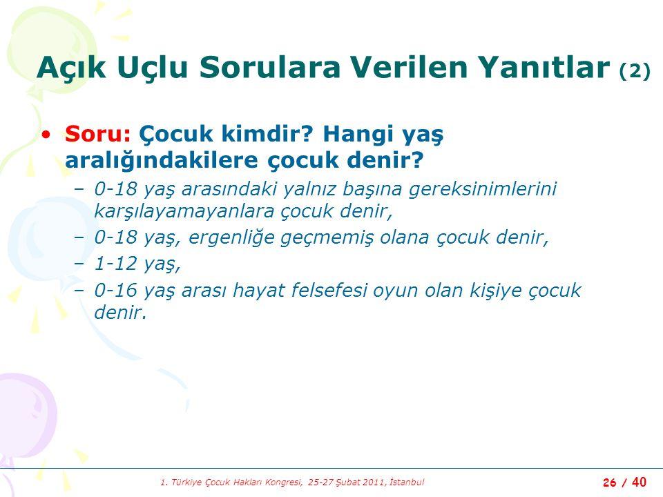 1. Türkiye Çocuk Hakları Kongresi, 25-27 Şubat 2011, İstanbul 26 / 40 Açık Uçlu Sorulara Verilen Yanıtlar (2) Soru: Çocuk kimdir? Hangi yaş aralığında