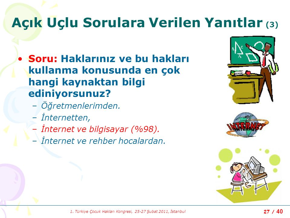 1. Türkiye Çocuk Hakları Kongresi, 25-27 Şubat 2011, İstanbul 27 / 40 Açık Uçlu Sorulara Verilen Yanıtlar (3) Soru: Haklarınız ve bu hakları kullanma