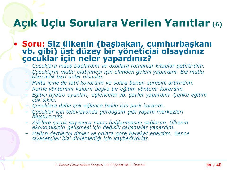 1. Türkiye Çocuk Hakları Kongresi, 25-27 Şubat 2011, İstanbul 30 / 40 Açık Uçlu Sorulara Verilen Yanıtlar (6) Soru: Siz ülkenin (başbakan, cumhurbaşka