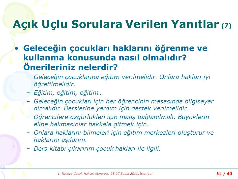 1. Türkiye Çocuk Hakları Kongresi, 25-27 Şubat 2011, İstanbul 31 / 40 Açık Uçlu Sorulara Verilen Yanıtlar (7) Geleceğin çocukları haklarını öğrenme ve