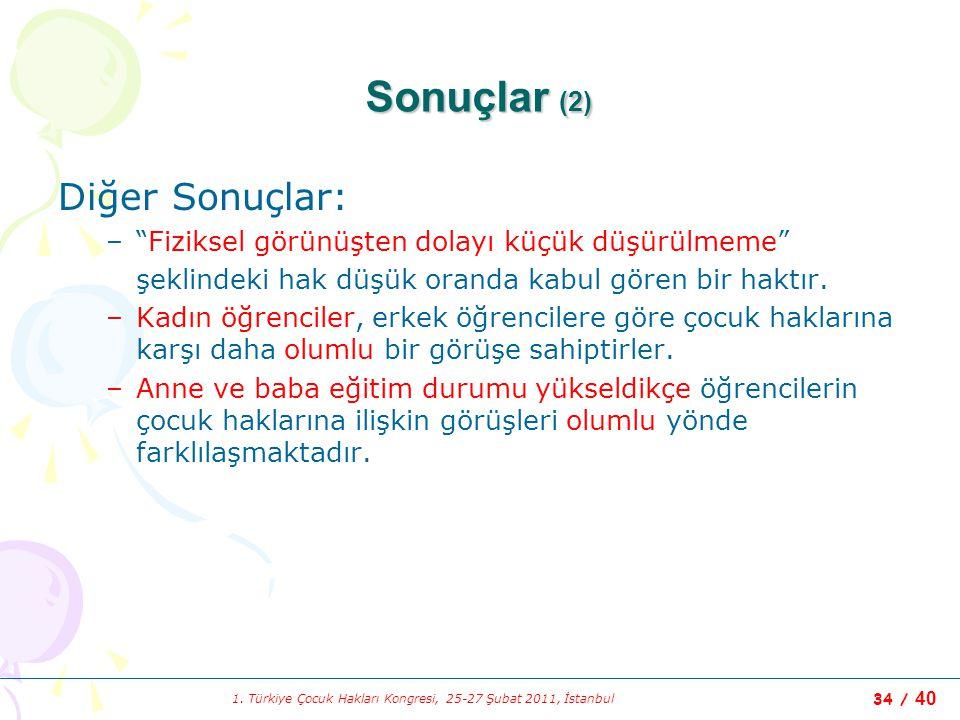 """1. Türkiye Çocuk Hakları Kongresi, 25-27 Şubat 2011, İstanbul 34 / 40 Sonuçlar (2) Diğer Sonuçlar: –""""Fiziksel görünüşten dolayı küçük düşürülmeme"""" şek"""