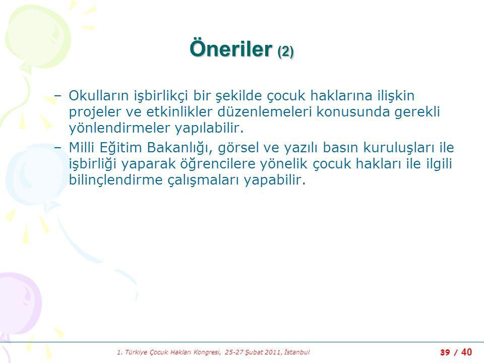 1. Türkiye Çocuk Hakları Kongresi, 25-27 Şubat 2011, İstanbul 39 / 40 Öneriler (2) –Okulların işbirlikçi bir şekilde çocuk haklarına ilişkin projeler