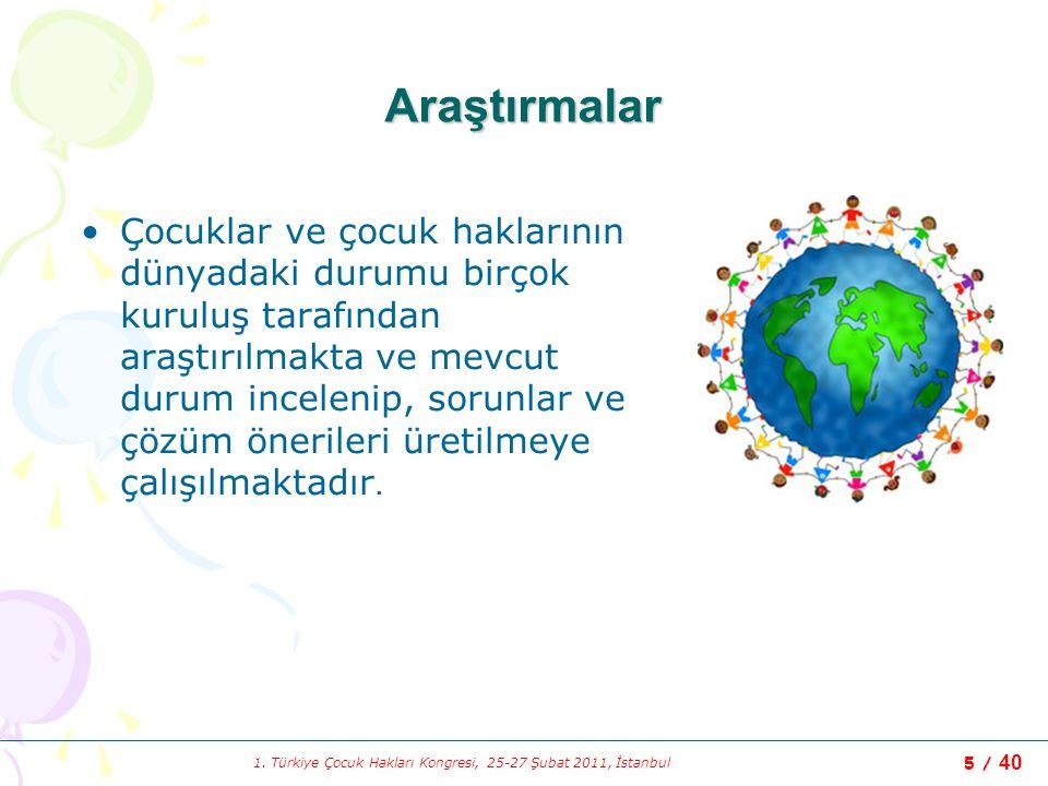 1. Türkiye Çocuk Hakları Kongresi, 25-27 Şubat 2011, İstanbul 5 / 40 Araştırmalar Çocuklar ve çocuk haklarının dünyadaki durumu birçok kuruluş tarafın