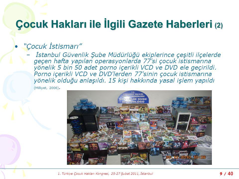 """1. Türkiye Çocuk Hakları Kongresi, 25-27 Şubat 2011, İstanbul 9 / 40 Çocuk Hakları ile İlgili Gazete Haberleri (2) """"Çocuk İstismarı"""" – İstanbul Güvenl"""