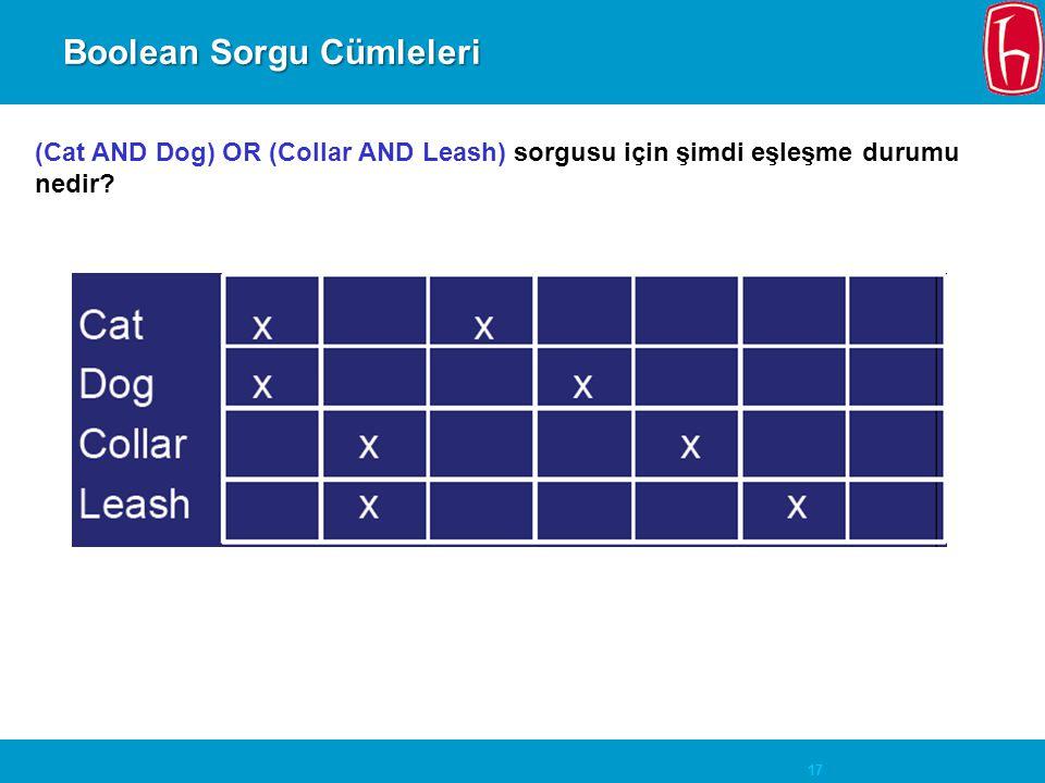 17 Boolean Sorgu Cümleleri (Cat AND Dog) OR (Collar AND Leash) sorgusu için şimdi eşleşme durumu nedir?